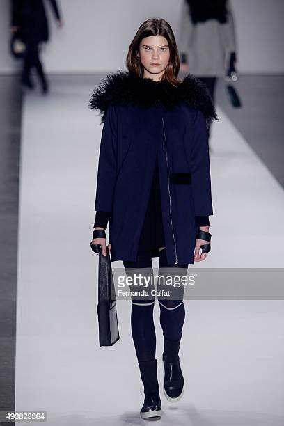 A model walks the runway during the Gloria Coelho fashion show at Sao Paulo Fashion Week Winter 2016 on October 22 2015 in Sao Paulo Brazil