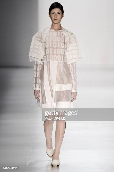 A model walks the runway during the Gloria Coelho show as part of the Sao Paulo Fashion Week Spring Summer 2013 on June 15 2012 in Sao Paulo Brazil