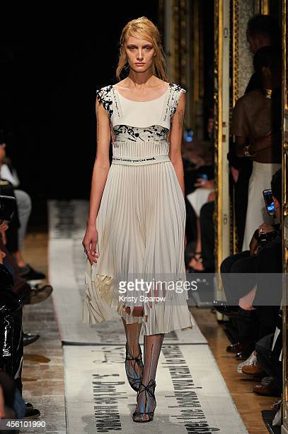 A model walks the runway during the Gosia Baczynska show as part of Paris Fashion Week Womenswear Spring/Summer 2015 on September 25 2014 in Paris...
