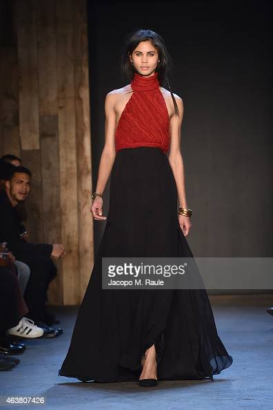 A model walks the runway during the Greg Lauren fashion show during MercedesBenz Fashion Week Fall 2015 at ArtBeam on February 18 2015 in New York...