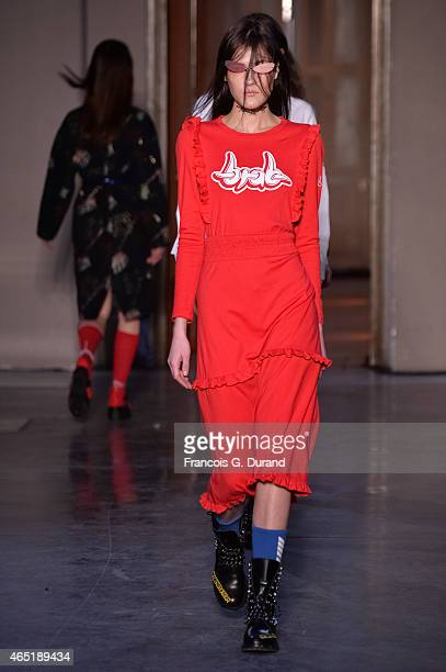 A model walks the runway during the Ground Zero show as part of the Paris Fashion Week Womenswear Fall/Winter 2015/2016 on March 3 2015 in Paris...