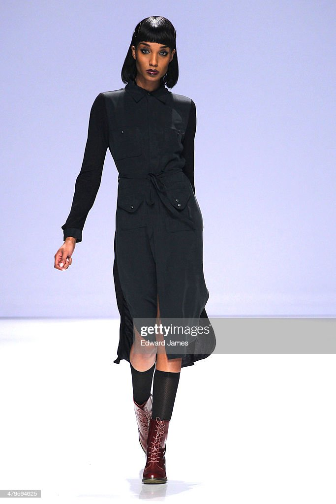 A model walks the runway during the Gsus Sindustries fashion show during World Mastercard fashion week on March 19, 2014 in Toronto, Canada.