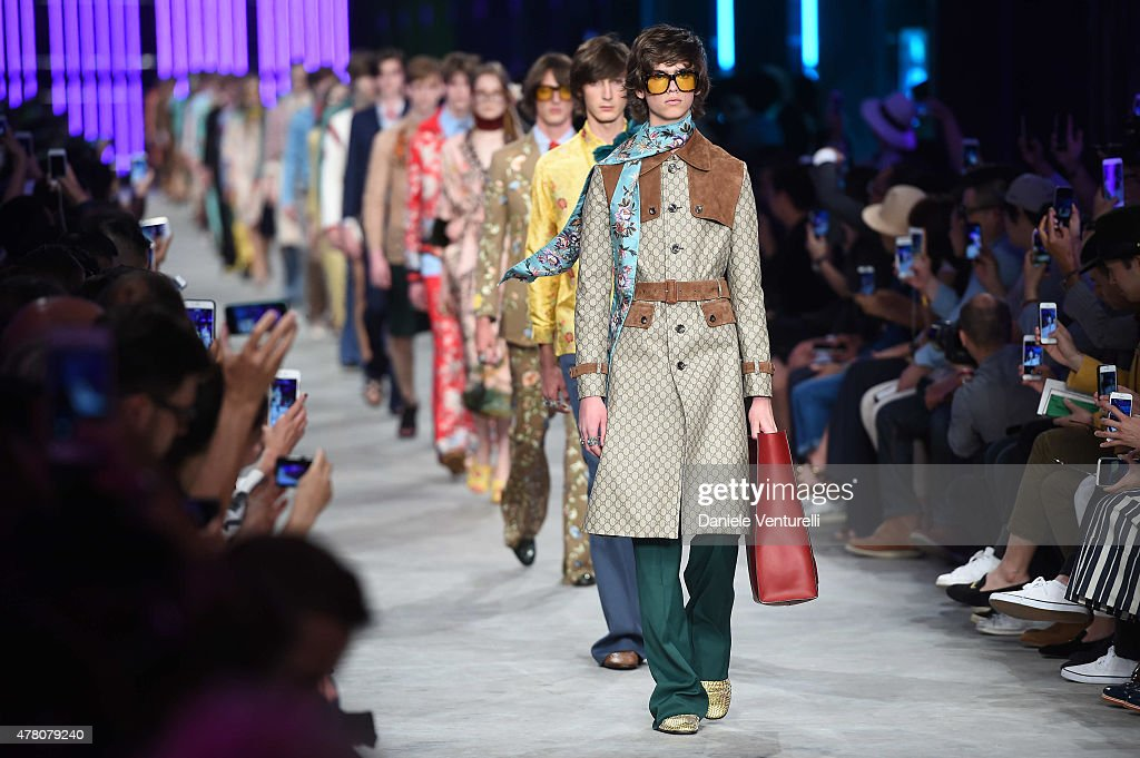 A model walks the runway during the GUCCI fashion show as part of Milan Men's Fashion Week Spring/Summer 2016 on June 22, 2015 in Milan, Italy.