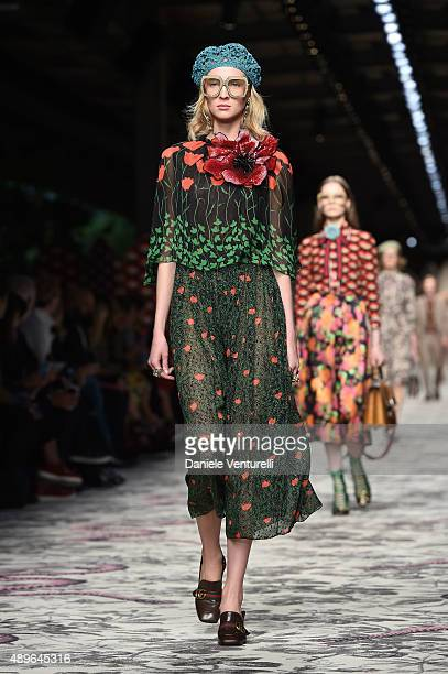 A model walks the runway during the Gucci show as a part of Milan Fashion Week Spring/Summer 2016 on September 23 2015 in Milan Italy