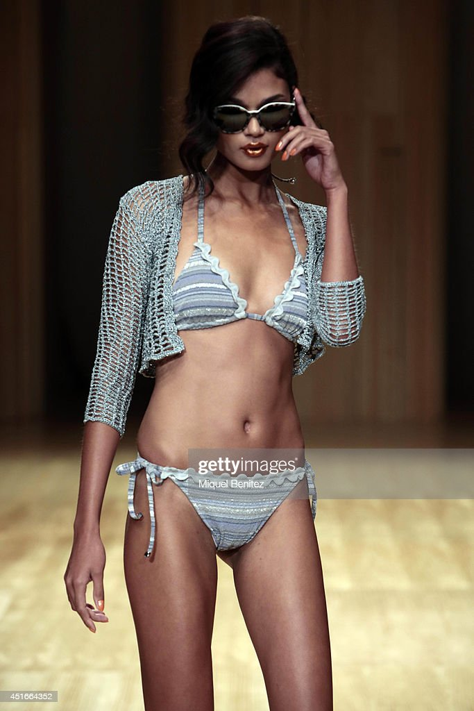 A model walks the runway during the Guillermina Baeza show as part of the 080 Barcelona Fashion Spring/Summer 2015 on July 3, 2014 in Barcelona, Spain.