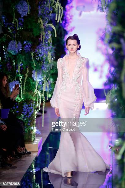 A model walks the runway during the Guo Pei Haute Couture Fall/Winter 20172018 show as part of Haute Couture Paris Fashion Week on July 2 2017 in...