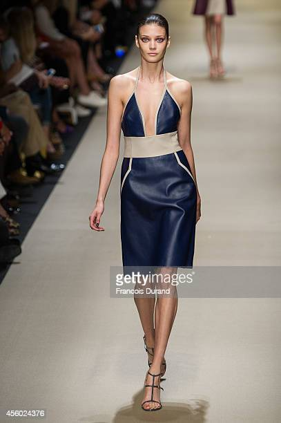 A model walks the runway during the Guy Laroche show as part of the Paris Fashion Week Womenswear Spring/Summer 2015 on September 24 2014 in Paris...