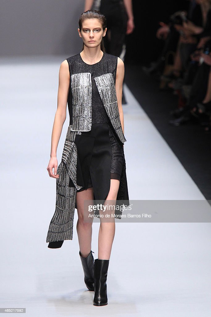 A model walks the runway during the Guy Laroche show as part of the Paris Fashion Week Womenswear Fall/Winter 2015/2016 on March 4 2015 in Paris...