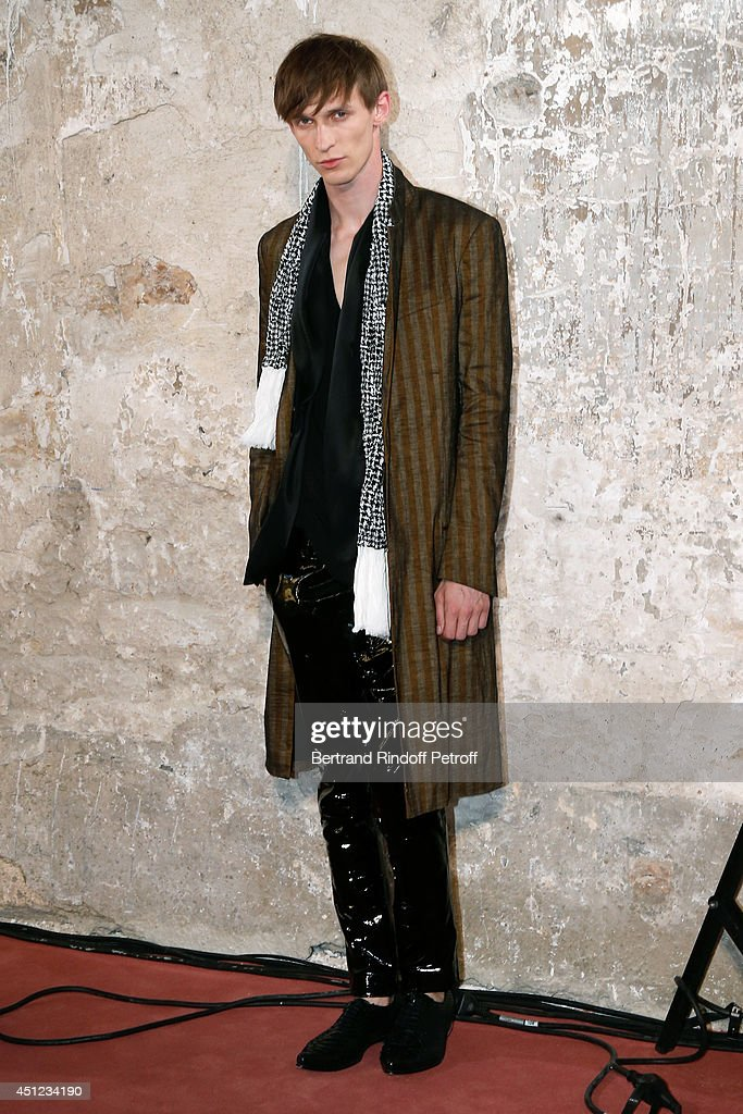 A model walks the runway during the Haider Ackermann show as part of the Paris Fashion Week Menswear Spring/Summer 2015 on June 25, 2014 in Paris, France.