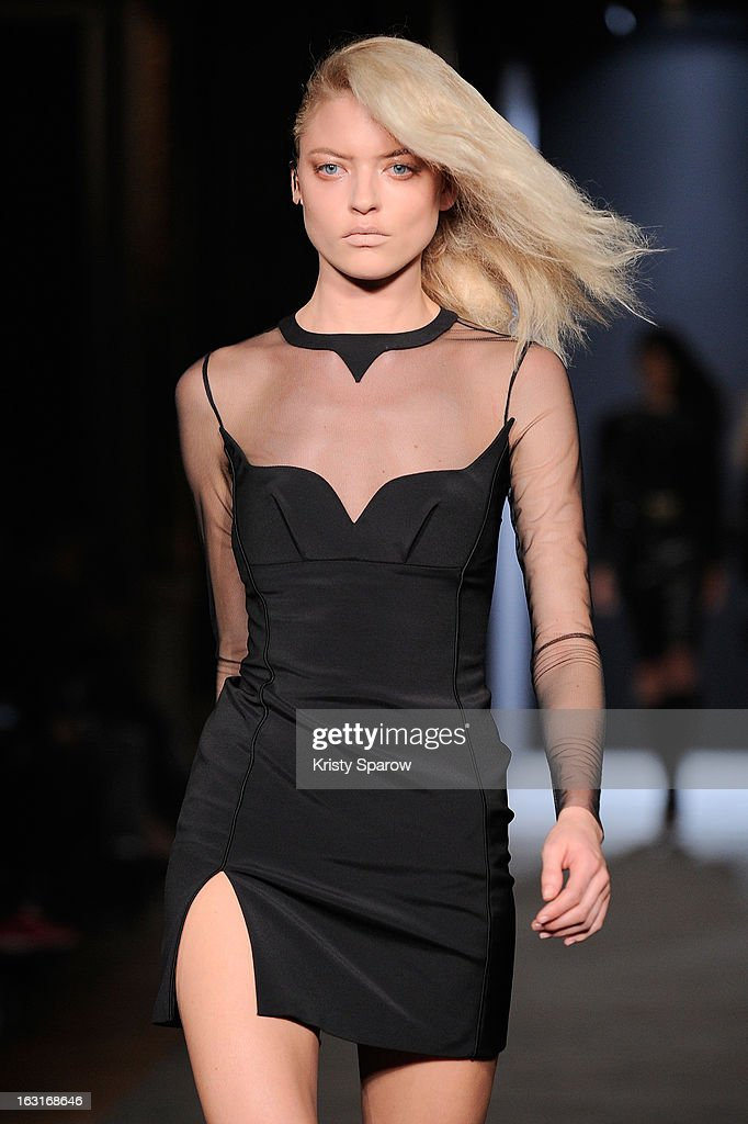 A model walks the runway during the Hakaan Fall/Winter 2013/14 Ready-to-Wear show as part of Paris Fashion Week on March 5, 2013 in Paris, France.