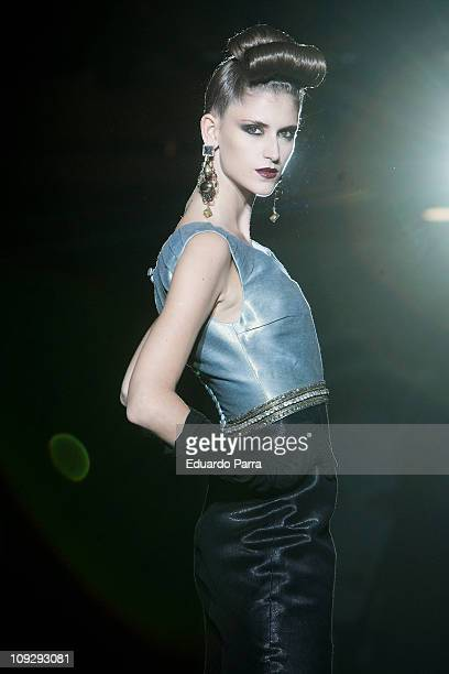 A model walks the runway during the Hannibal Laguna fashion show as part of Cibeles Fashion Week Autumn/Winter 2011 on February 19 2011 in Madrid...