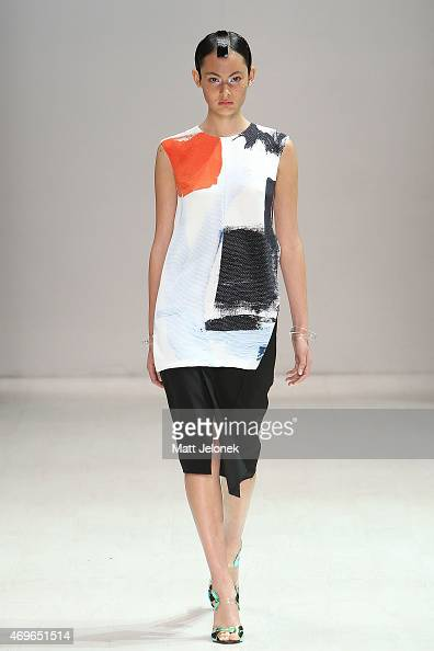 A model walks the runway during the Haryono Setiadi show at MercedesBenz Fashion Week Australia 2015 at Carriageworks on April 14 2015 in Sydney...