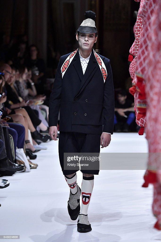 A model walks the runway during the Henrik Vibskov Menswear Spring/Summer 2017 show as part of Paris Fashion Week on June 25, 2016 in Paris, France.
