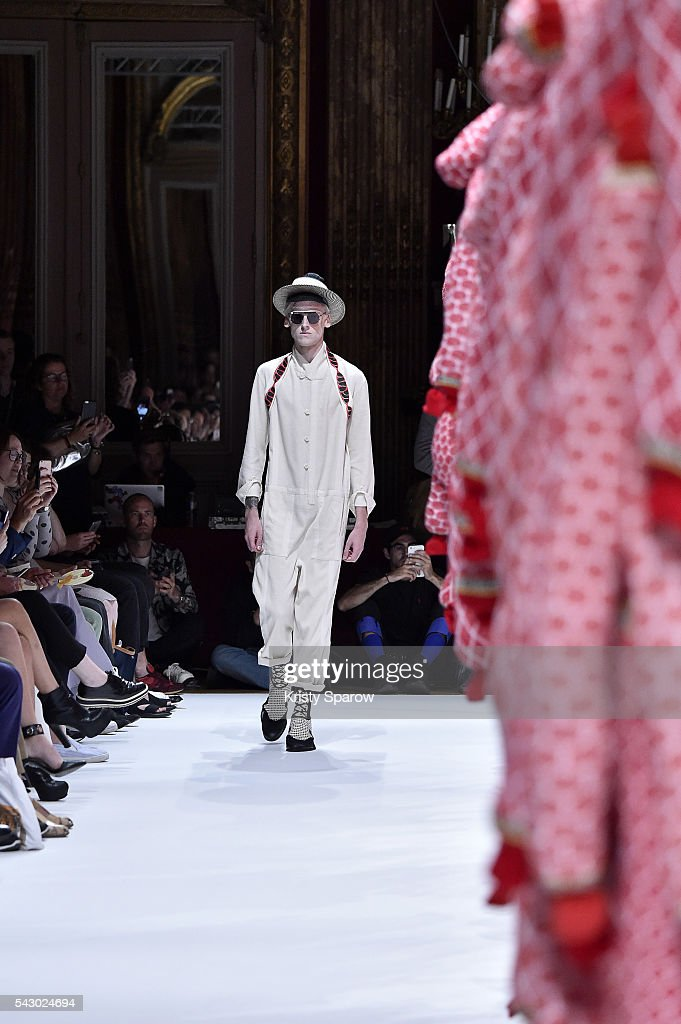 A model walks the runway during the Henrik Vibskov Menswear Spring/Summer 2017 show as part of Paris Fashion Week on June 25, 2016 in Paris, France.