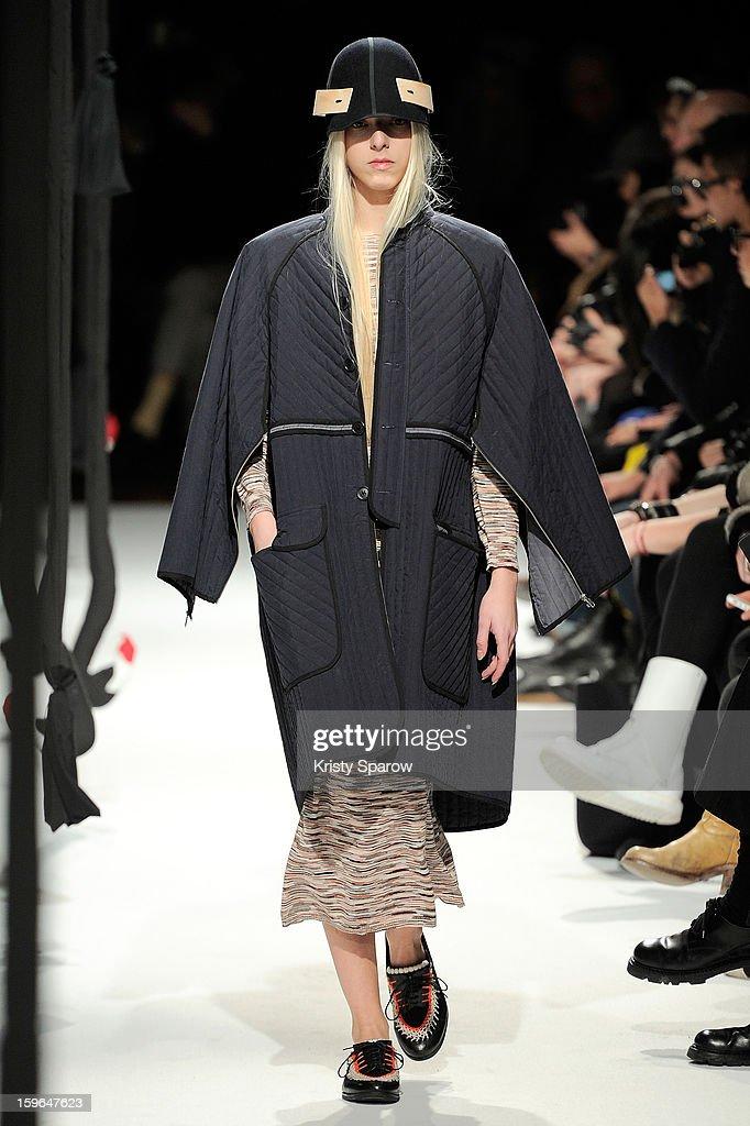 A model walks the runway during the Henrik Vibskov Menswear Autumn / Winter 2013/14 show as part of Paris Fashion Week on January 17, 2013 in Paris, France.
