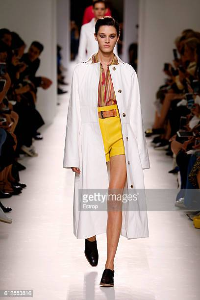 A model walks the runway during the Hermes designed by Nadège VanheeCybulski show as part of the Paris Fashion Week Womenswear Spring/Summer 2017 on...
