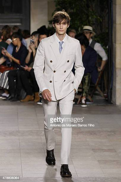 A model walks the runway during the Hermes Menswear Spring/Summer 2016 show as part of Paris Fashion Week on June 27 2015 in Paris France