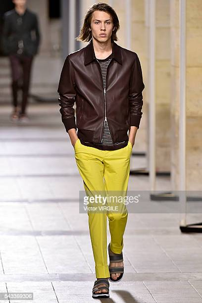 A model walks the runway during the Hermes Menswear Spring/Summer 2017 show as part of Paris Fashion Week on June 25 2016 in Paris France