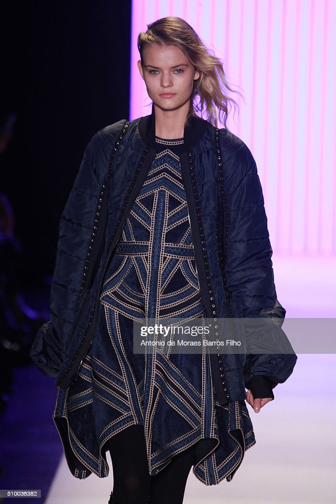 A model walks the runway during the Herve Leger By Max Azria show as a part of Fall 2016 New York Fashion Week at The Arc, Skylight at Moynihan Station on February 13, 2016 in New York City.