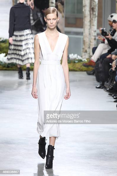 A model walks the runway during the Hugo Boss fall 2014 fashion show on February 12 2014 in New York City
