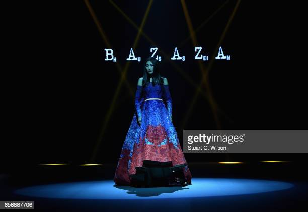 A model walks the runway during the Hussein Bazaza show at Fashion Forward March 2017 held at the Dubai Design District on March 23 2017 in Dubai...