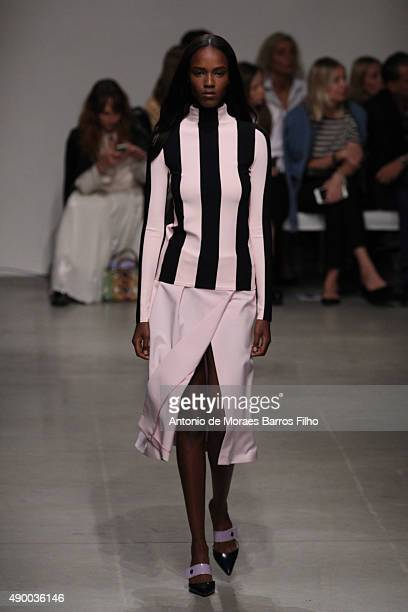 A model walks the runway during the Iceberg show as a part of Milan Fashion Week Spring/Summer 2016 on September 25 2015 in Milan Italy
