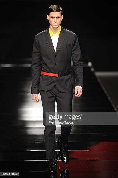 A model walks the runway during the Iceberg show as part of Milan Fashion Week Menswear Autumn/Winter 2013 on January 13 2013 in Milan Italy