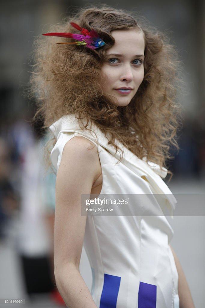 A model walks the runway during the Impasse de La Defense Ready to Wear Spring/Summer 2011 show during Paris Fashion Week at Gare de l'Est on...