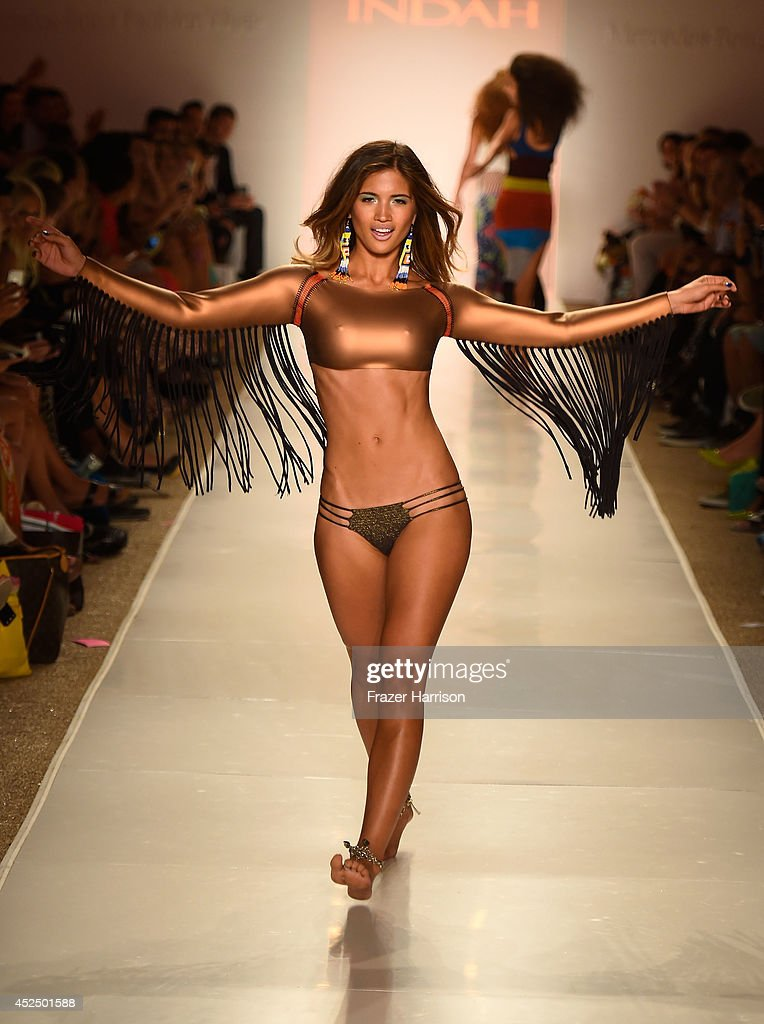 A model walks the runway during the Indah fashion show at Mercedes-Benz Fashion Week Swim 2015 at Cabana Grande at the Raleigh on July 21, 2014 in Miami, Florida.
