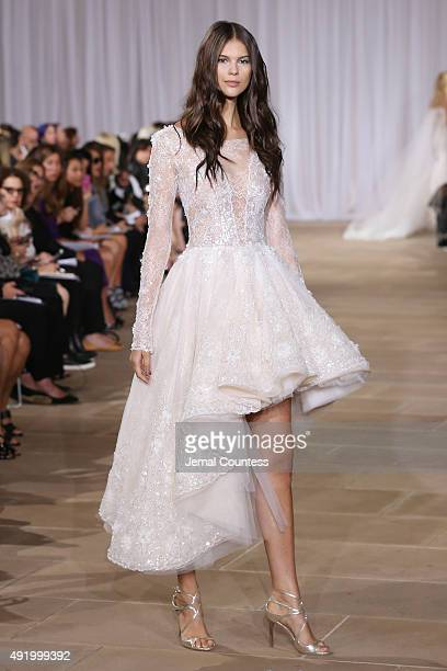 A model walks the runway during the Ines Di Santo Fall/Winter 2016 Couture Bridal Collection runway show at The IAC Building on October 9 2015 in New...