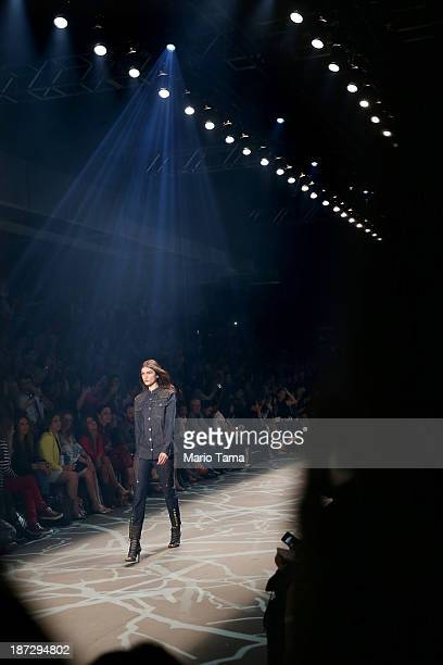 A model walks the runway during the Iodice fashion show at Fashion Rio Winter 2014 at Pier Maua on November 7 2013 in Rio de Janeiro Brazil