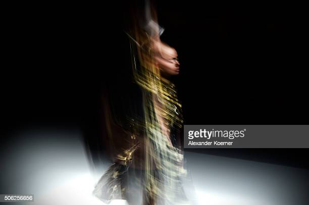 A model walks the runway during the Irene Luft Show at the MercedesBenz Fashion Week Berlin Autumn/Winter 2016 at Brandenburg Gate on January 22 2016...