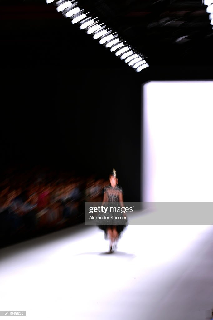 A model walks the runway during the Irene Luft show at the Mercedes-Benz Fashion Week Berlin Spring/Summer 2017 at Erika Hess Eisstadion on July 01, 2016 in Berlin, Germany.