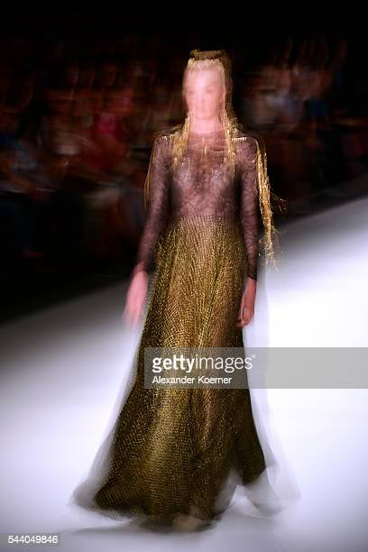 A model walks the runway during the Irene Luft show at the MercedesBenz Fashion Week Berlin Spring/Summer 2017 at Erika Hess Eisstadion on July 01...