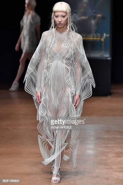 A model walks the runway during the Iris Van Herpen Haute Couture Fall/Winter 20172018 show as part of Haute Couture Paris Fashion Week on July 3...