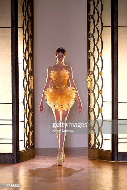 A model walks the runway during the Iris Van Herpen HauteCouture show as part of Paris Fashion Week Fall / Winter 2012/13 on July 2 2012 in Paris...