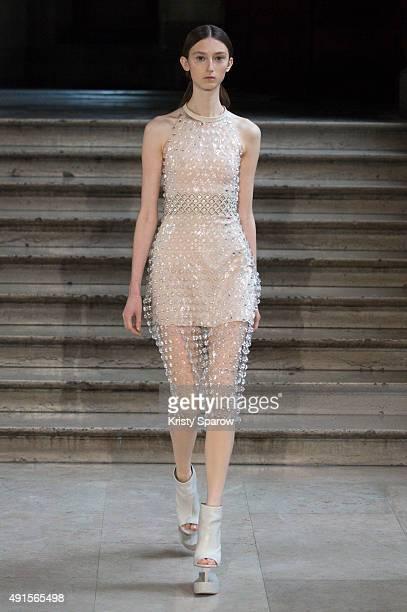 A model walks the runway during the Iris Van Herpen show as part of Paris Fashion Week Womenswear Spring/Summer 2016 on October 6 2015 in Paris France