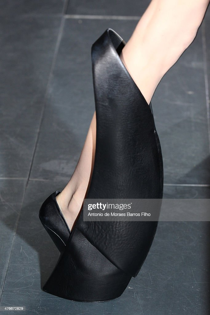 A model walks the runway (detail) during the Iris Van Herpen show as part of the Paris Fashion Week Womenswear Fall/Winter 2014-2015 on March 4, 2014 in Paris, France.