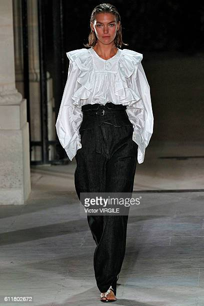 A model walks the runway during the Isabel Marant fashion show as part of the Paris Fashion Week Womenswear Spring/Summer 2017 on September 29 2016...
