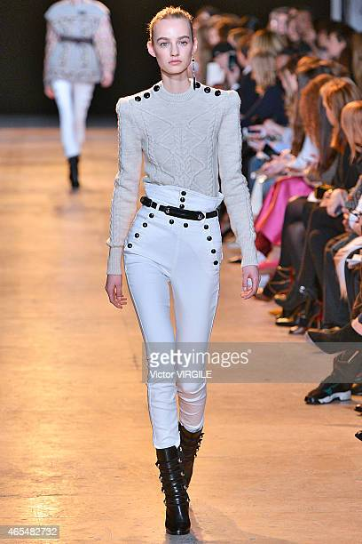 A model walks the runway during the Isabel Marant show as part of the Paris Fashion Week Womenswear Fall/Winter 2015/2016 on March 6 2015 in Paris...