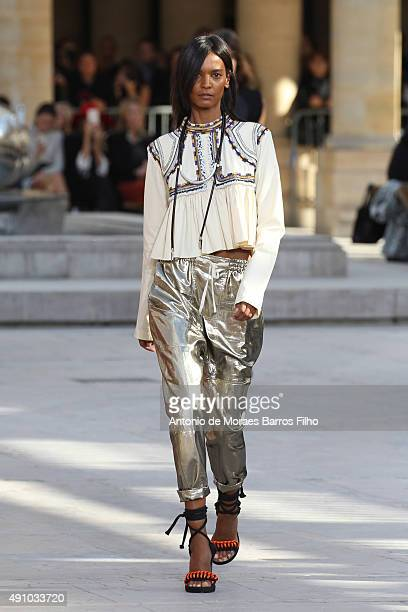 A model walks the runway during the Isabel Marant show as part of the Paris Fashion Week Womenswear Spring/Summer 2016 on October 2 2015 in Paris...