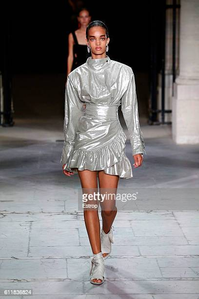 A model walks the runway during the Isabel Marant show as part of the Paris Fashion Week Womenswear Spring/Summer 2017 on September 29 2016 in Paris...