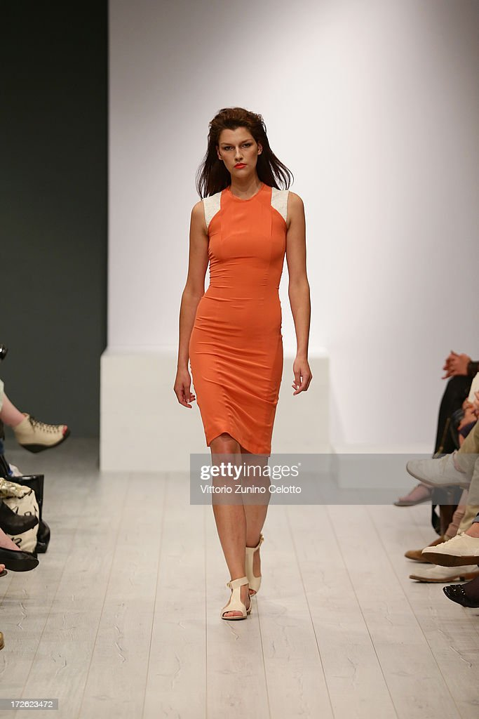 A model walks the runway during the Isabell De Hillerin Show at the Mercedes-Benz Fashion Week Spring/Summer 2014 at the Brandenburg Gate on July 4, 2013 in Berlin, Germany