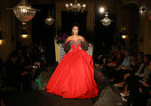 A model walks the runway during the Isabelle Armstrong Fall 2016 Runway Presentation at Hotel Plaza Athenee on October 9 2015 in New York City