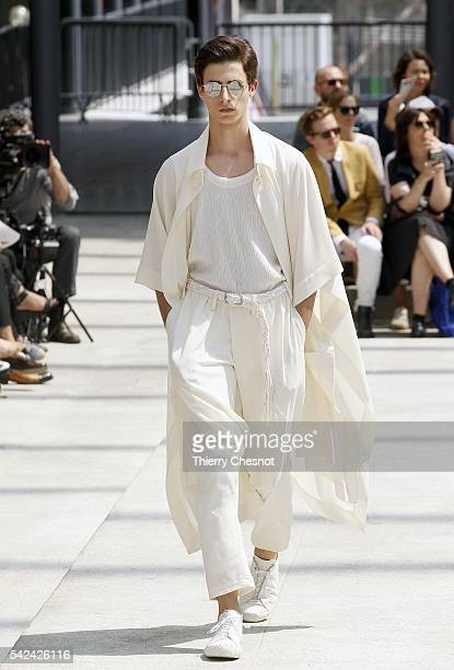 A model walks the runway during the Issey Miyake Men Menswear Spring/Summer 2017 show as part of Paris Fashion Week on June 23 2016 in Paris France