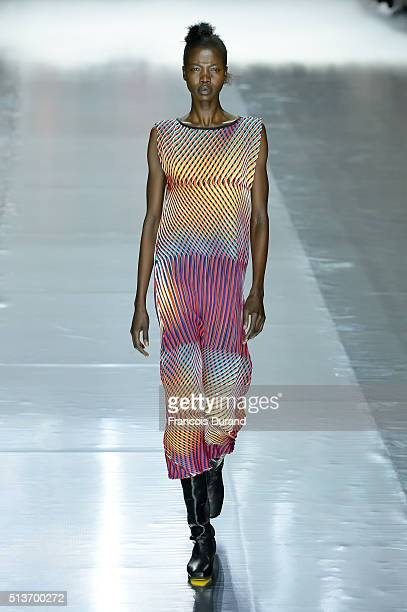 A model walks the runway during the Issey Miyake show as part of the Paris Fashion Week Womenswear Fall/Winter 2016/2017 on March 4 2016 in Paris...