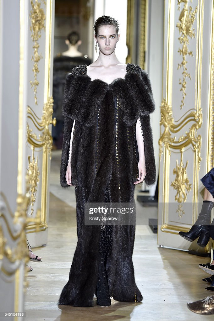 A model walks the runway during the J Mendel Haute Couture Fall/Winter 20162017 show as part of Paris Fashion Week on July 5 2016 in Paris France