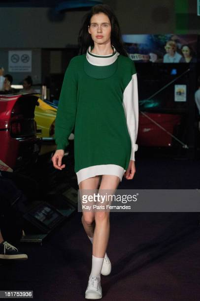 A model walks the runway during the Jacquemus show as part of the Paris Fashion Week Womenswear Spring/Summer 2014 on September 24 2013 in Paris...