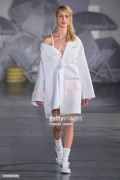 A model walks the runway during the Jacquemus show as part of the Paris Fashion Week Womenswear Spring/Summer 2015 on September 23 2014 in Paris...