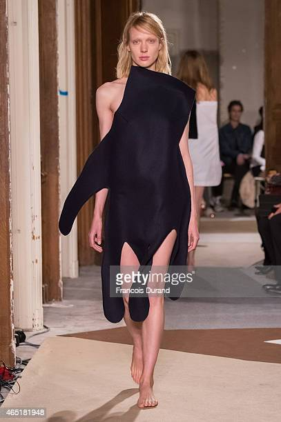 A model walks the runway during the Jacquemus show as part of the Paris Fashion Week Womenswear Fall/Winter 2015/2016 on March 3 2015 in Paris France